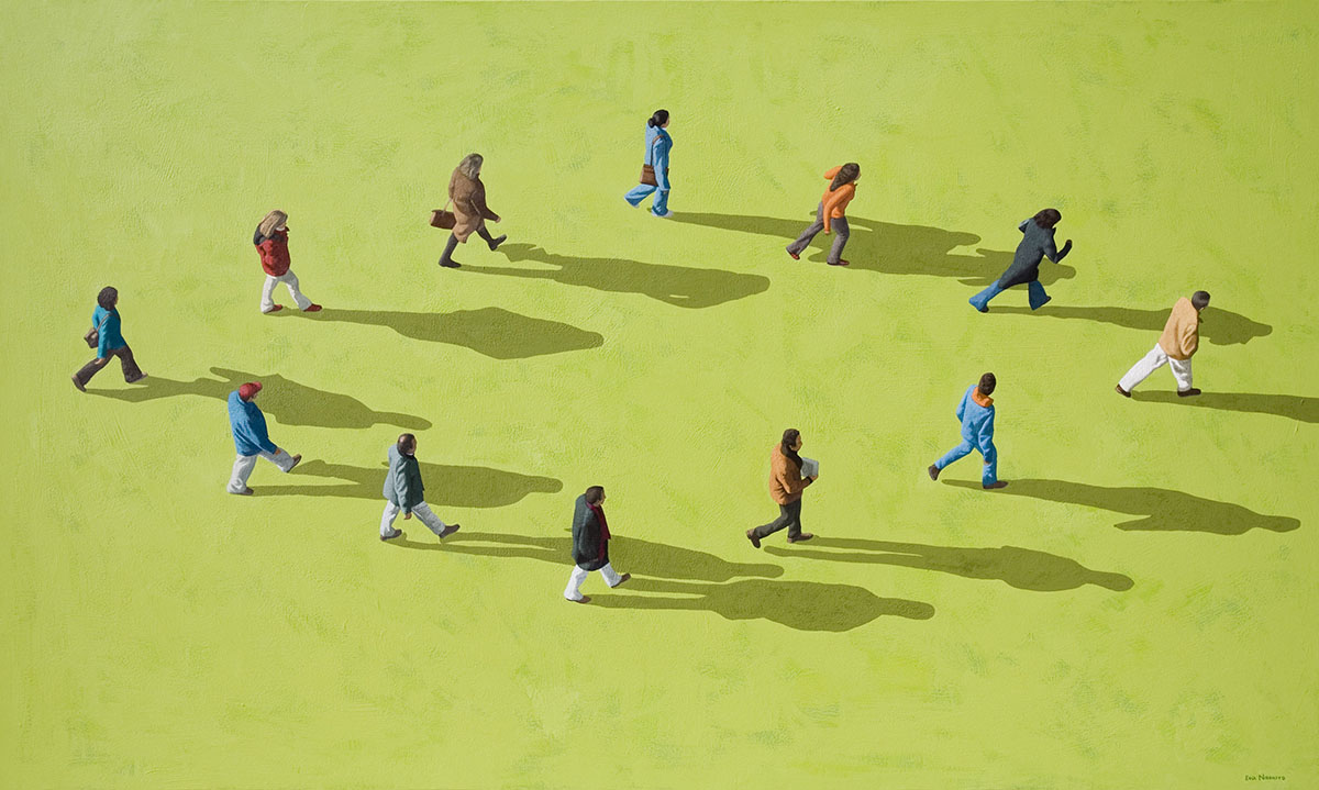 Caminantes sobre verde / Walkers on green